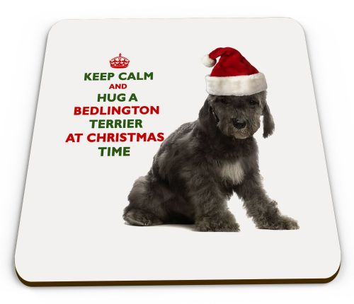 Christmas Keep Calm And Hug A Bedlington Terrier Novelty Glossy Mug Coaster